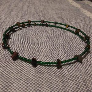 Tiger Eye and Green Beads Choker